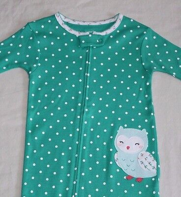 New~Carters Toddler Girl Green Owl Cotton Footed Sleeper Pajamas Size 24 Month