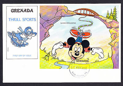 1992 Grenada First Day Cover FDC Walt Disney Sheet Thrill Sports Bungee Jumping