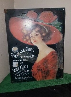 Vintage PEERLESS Chips & Tickle-Chicle Texas Gum Co. TIN Advertising Sign!