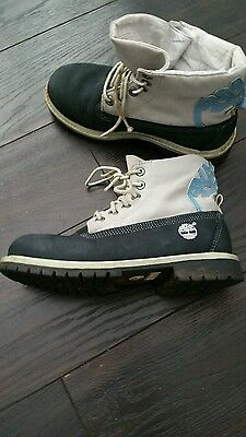 GIRLS or Boys  Genuine Timberland navy blue and grey  Boots - UK SIZE 2