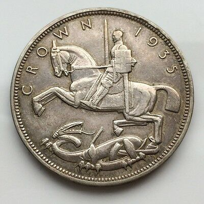 1935 Silver Rocking Horse Crown George V Great Britain XF