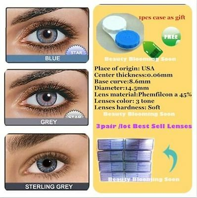 Contact Lenses 3 PAIRS/LOT Blue + Gray + Sterling Gray Eyes Colored Cosmetic