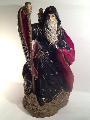 """Windstone Editions 1986 """" Large Wizard with Baby Dragon """" Statue"""