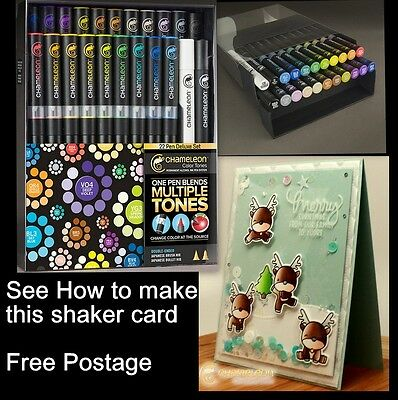 Chameleon Color Tone Markers 22 Deluxe Pen Set + FREE pack 10 Nibs & Gift NEW