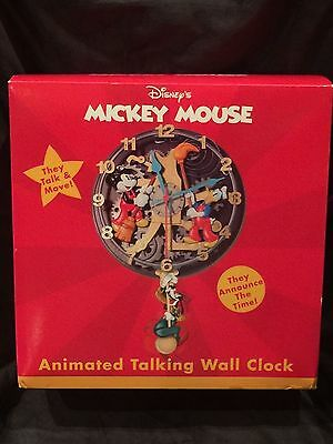 "Disney Mickey Mouse Animated Talking Wall Clock Rare ""Clock Cleaners"" KNG"