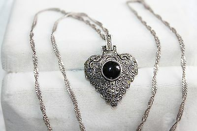ART DECO Vintage STERLING Silver ONYX & MARCASITE Pendant Brooch NECKLACE
