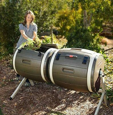 Large Compost Bin Dual Tumbler Lifetime Garden Composter Twin 50 Gallon Rotating