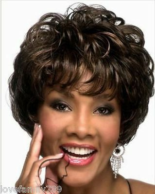 New! Ladies fashion Curly mixed Brown Natural Hair Women's Wigs + wig cap