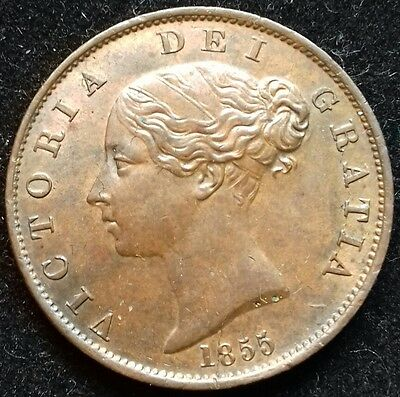 1855 Half Penny. A/unc. Choice Grade. Victoria British Copper Coins.