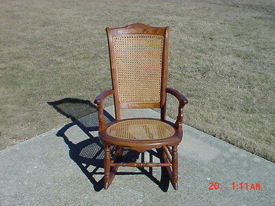 Antique Walnut Rocking Chair Rocker Wicker Cane Seat Late 1800's Authentic