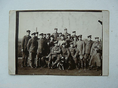 Company of German Sodlier posing with a Dog : Original German Photograph