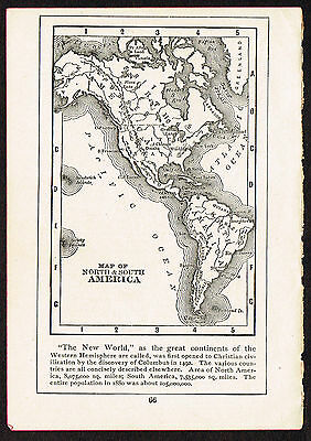1892 Small Old Antique Vintage Paper MAP of North & South America