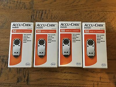 ACCU-CHEK MOBILE TEST CASSETES. 4 Boxes Total 200 Tests