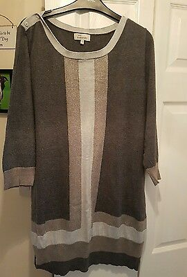 Next Maternity Grey/ Silver Jumper/ Tunic Size 22 Fab Used Condition