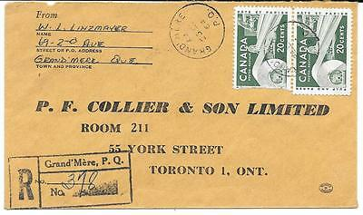 1964 Grand Mere, Quebec Registered Cover to Toronto 20c Pulp & Paper x2