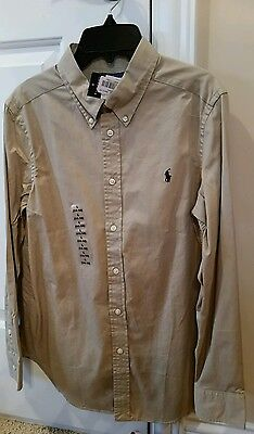 Ralph Lauren youth size LG 14 khaki long sleeve shirt button down boys polo NWT