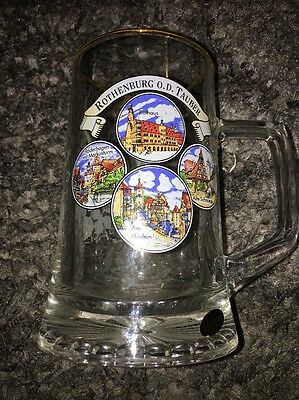 Bockling Collectible Souvenir Beer Mug Stein Heavy Glass  Rothenburg OD Tauber