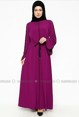 Maxi Dress Kaftan Abaya Turkish Purple Loose Drawstring Dress EU 38 UK 10 BNWOT
