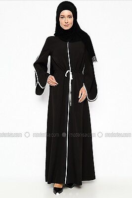 Maxi Dress Kaftan Abaya Turkish black Loose Drawstring Dress EU 38 UK 10 BNWOT