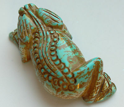 Large Carved Blue Turquoise Chameleon Pendant. For Jewellery Making
