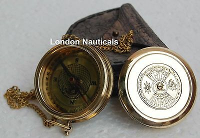 Brass Calendar Compass W/leather Case Engraved Compass Sundial Compass Poem Gift