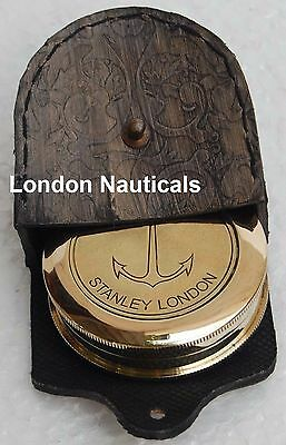 Vintage Nautical Style Poem Engraved Marine Compass Brass Compass W/leather Case