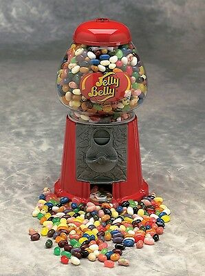 "Jelly Belly Jelly Bean Gumball Machine Cast Iron Glass 9"" Tall + Starter Pack"