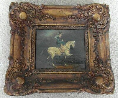 RARE Victorian Antique Oil Painting on Canvas Lady Riding Side Saddle Equestrian