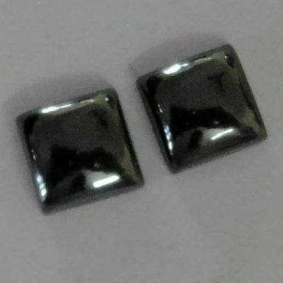 Handmade Square Cabochon Haematite Gemstone 2Piece 9mm 14.5Cts Wholesale # 11358
