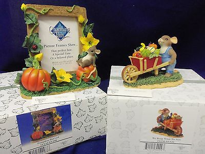 Charming Tails Fitz and Floyd PUMPKIN HARVEST frame, WE REAP WHAT WE SOW lot