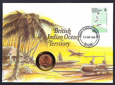 Ship Aeroplane Plane 1991 BIOT Britsh Indian Ocean Territory Stamp Cover & Coin
