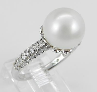 Pearl and Diamond Engagement Promise Ring 14K White Gold June Gem Size 6.75