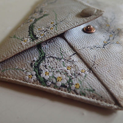 Vintage hand painted cherry blossom on silk leather card purse/wallet