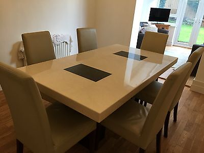 Barker And Stonehouse Amalfi Marble Dining Table + 6 Cream Leather Chairs