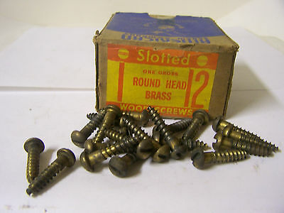 """#12 x 1"""" Round Head Brass Wood Screws Solid Brass Slotted - Made in USA Qty. 144"""