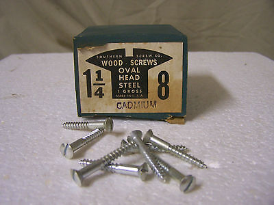 """#8  x 1 1/4"""" Oval Head Cadmium Plated Wood Screws Slotted Made in USA - Qty.144"""