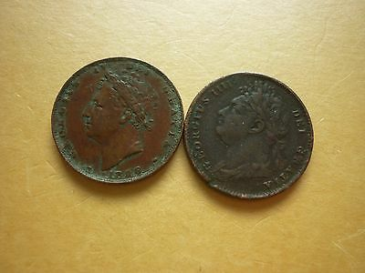 Gt Britain - Collectable George Iiii 1822 & 1826 Copper Farthings