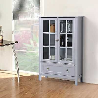 Storage Cabinet Glass Doors Curio China Hutch Drawer Kitchen ...