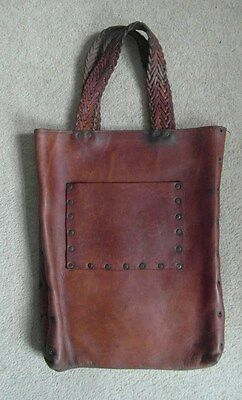 FAB Unusual Vintage Leather Bag - Tan - Moroccan - Lined - Twin Handle