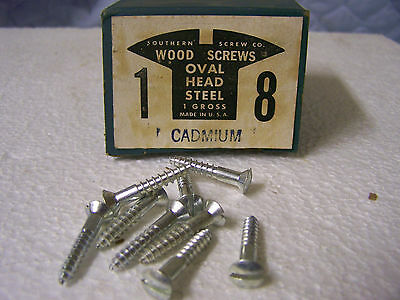 """#8  x 1"""" Oval Head Cadmium Plated Wood Screws Slotted Made in USA - Qty.144"""