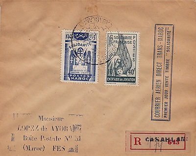 Morocco : Trans-Maroc Air Mail 'solidarite' Stamps Reg. First Day Cover B (1945)