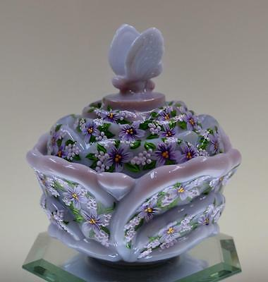 Fenton CANDY DISH Flower w Butterfly Lid VIOLETS - BLUE BURMESE OOAK FreeUSAship