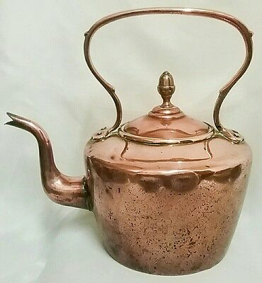 Large Vintage Copper And Brass Kettle With 'Acorn' Lid