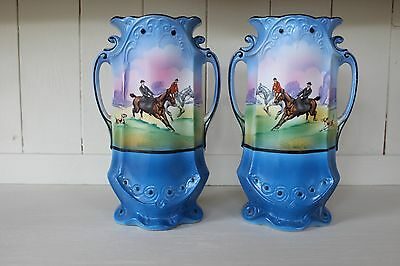 Antique matching pair fox hunting hand painted mantle piece vases decroative