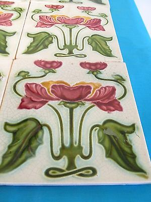 7 X Victorian Antique Art Nouveau Ceramic Tiles - 15cms x 15cms