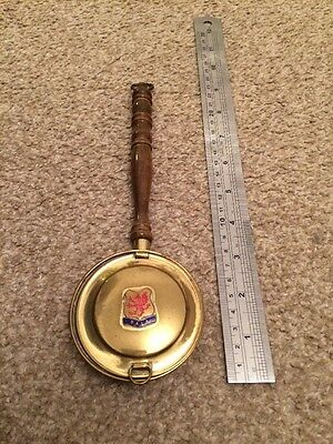 Bala Brass Vintage Bed Warming Pan Ornament Small Wooden Handle Dragon Peerage