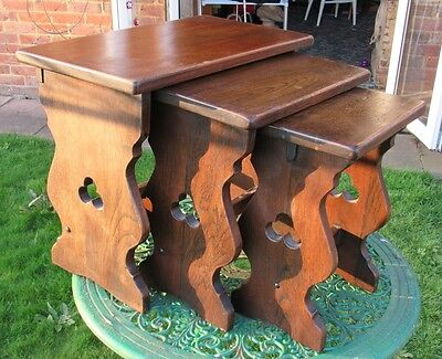 Arts and Crafts Influence Nest of Solid Oak Tables , Circa 1940s.