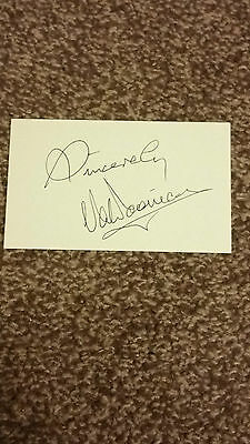 Val Doonican - Hand Signed Autographed 5x3 White Card - Very Rare
