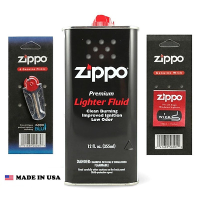 Zippo Lighter 12oz Can Fuel Fluid & Flints & Wick Value Pack Combo Fast Shipping