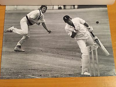 1970s Dennis Amiss avoids Jeff Thomson bouncer in Ashes Test Press Photograph